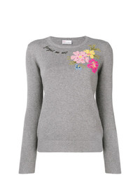 Jersey con cuello circular con print de flores gris de RED Valentino