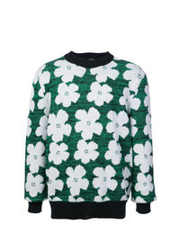 Jersey con cuello circular con print de flores verde