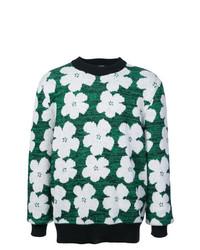 Jersey con cuello circular con print de flores verde de Calvin Klein 205W39nyc