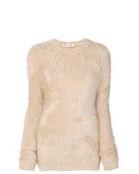 Jersey con cuello circular de angora en beige de Marni