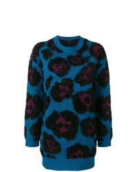 Jersey con cuello circular de angora estampado azul de Marc Jacobs