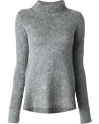 Jersey con cuello circular de angora gris