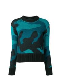 Jersey con cuello circular de camuflaje azul marino de Diesel
