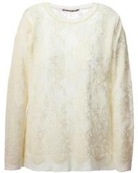 Jersey con cuello circular de encaje en beige