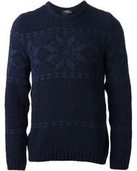 Jersey con cuello circular de grecas alpinos azul marino de A.P.C.