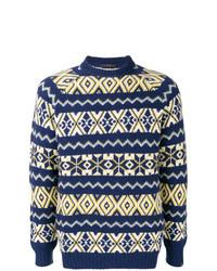Jersey con cuello circular de grecas alpinos azul marino de The Gigi