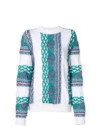 Jersey con cuello circular de grecas alpinos blanco de Aalto