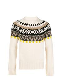 Jersey con cuello circular de grecas alpinos en beige de Maison Margiela