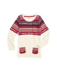 Jersey con cuello circular de grecas alpinos en blanco y rojo
