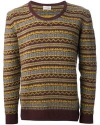 Jersey con cuello circular de grecas alpinos marrón de Original Vintage Style
