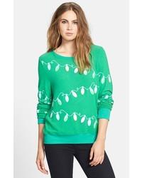 Jersey con cuello circular de grecas alpinos verde de Wildfox Couture