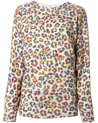 Jersey con cuello circular de leopardo en beige de Chloé