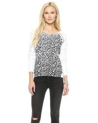 Jersey con cuello circular de leopardo en blanco y negro de Rebecca Minkoff