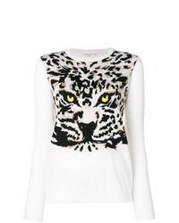 Jersey con cuello circular de leopardo en blanco y negro de Sonia Rykiel