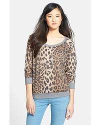 Jersey con cuello circular de leopardo en gris oscuro