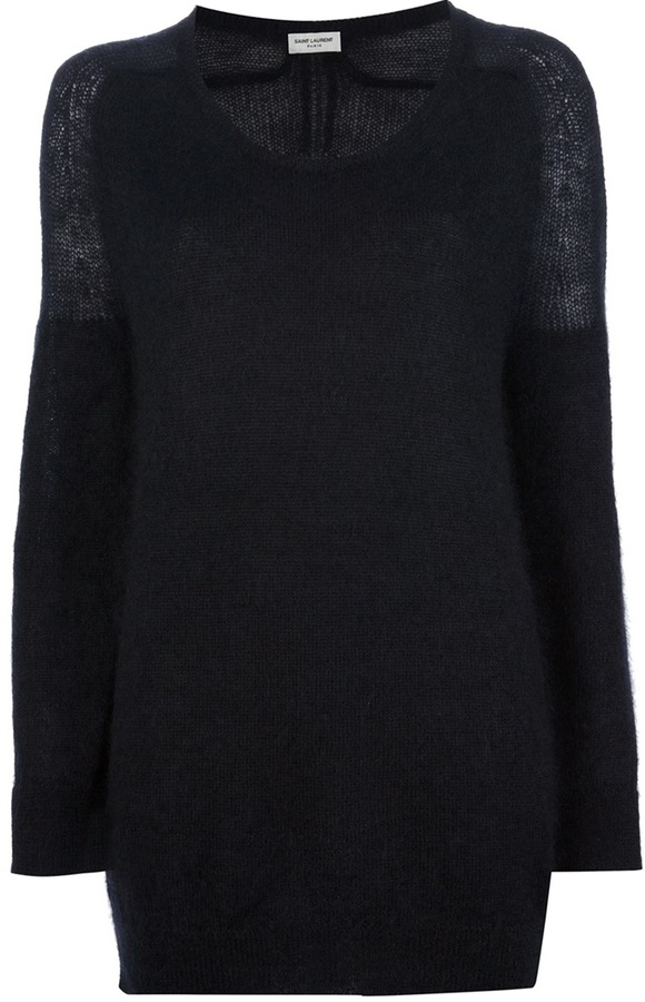 Jersey con cuello circular de mohair negro de Saint Laurent