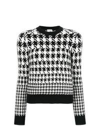 Jersey con cuello circular de pata de gallo en negro y blanco de Saint Laurent