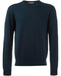 Jersey con cuello circular de punto azul marino