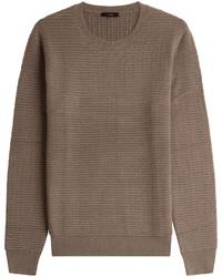 Jersey con cuello circular de punto marrón