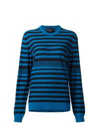 Jersey con cuello circular de rayas horizontales azul de Sonia Rykiel