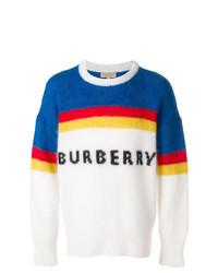 Jersey con cuello circular de rayas horizontales blanco de Burberry