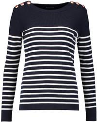 Jersey con cuello circular de rayas horizontales en azul marino y blanco