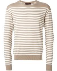 Jersey con cuello circular de rayas horizontales en beige de Etro