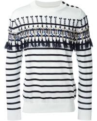 Jersey con cuello circular de rayas horizontales en blanco y azul marino de Sacai