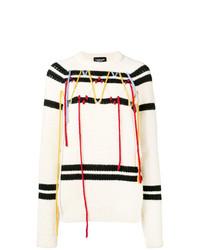 Jersey con cuello circular de rayas horizontales en blanco y negro de Calvin Klein 205W39nyc
