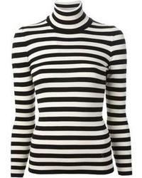 Jersey con cuello circular de rayas horizontales en blanco y negro de Gucci