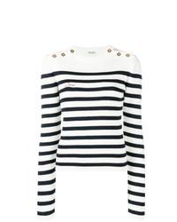 Jersey con cuello circular de rayas horizontales en blanco y negro de Miu Miu