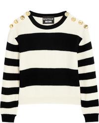 Jersey con cuello circular de rayas horizontales en blanco y negro de Moschino