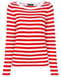 Jersey con cuello circular de rayas horizontales en blanco y rojo
