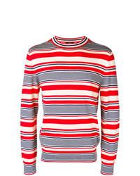 Jersey con cuello circular de rayas horizontales en blanco y rojo y azul marino