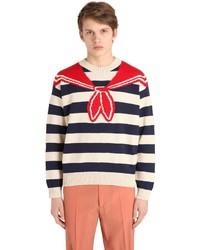 Jersey con cuello circular de rayas horizontales en blanco y rojo y azul marino de Gucci