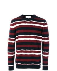 Jersey con cuello circular de rayas horizontales en blanco y rojo y azul marino de Salvatore Ferragamo
