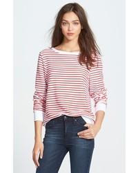 Jersey con cuello circular de rayas horizontales en blanco y rojo de Wildfox Couture