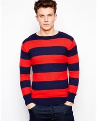 Jersey con cuello circular de rayas horizontales en rojo y azul marino