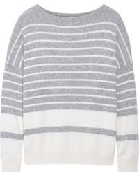 Jersey con cuello circular de rayas horizontales gris