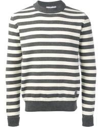 Jersey con cuello circular de rayas horizontales gris de Ami