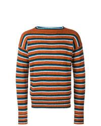 Jersey con cuello circular de rayas horizontales naranja de Prada