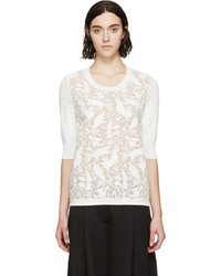 Jersey con cuello circular de seda de leopardo blanco de Chloé