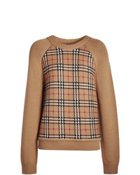 Jersey con cuello circular de tartán marrón claro de Burberry