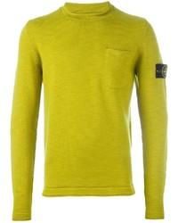 Jersey con cuello circular en amarillo verdoso de Stone Island