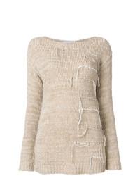 Jersey con cuello circular en beige de Fabiana Filippi