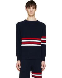 Jersey con cuello circular en blanco y rojo y azul marino