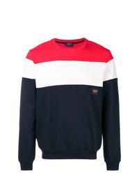 Jersey con cuello circular en blanco y rojo y azul marino de Paul & Shark