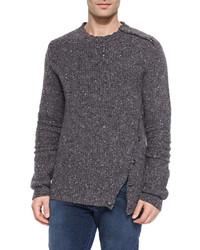 Jersey con cuello circular en gris oscuro de Balmain