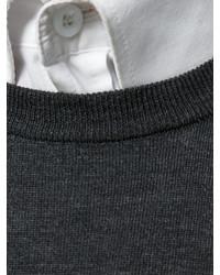 Jersey con cuello circular en gris oscuro de Zanone