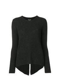 Jersey con cuello circular en gris oscuro de Giorgio Armani